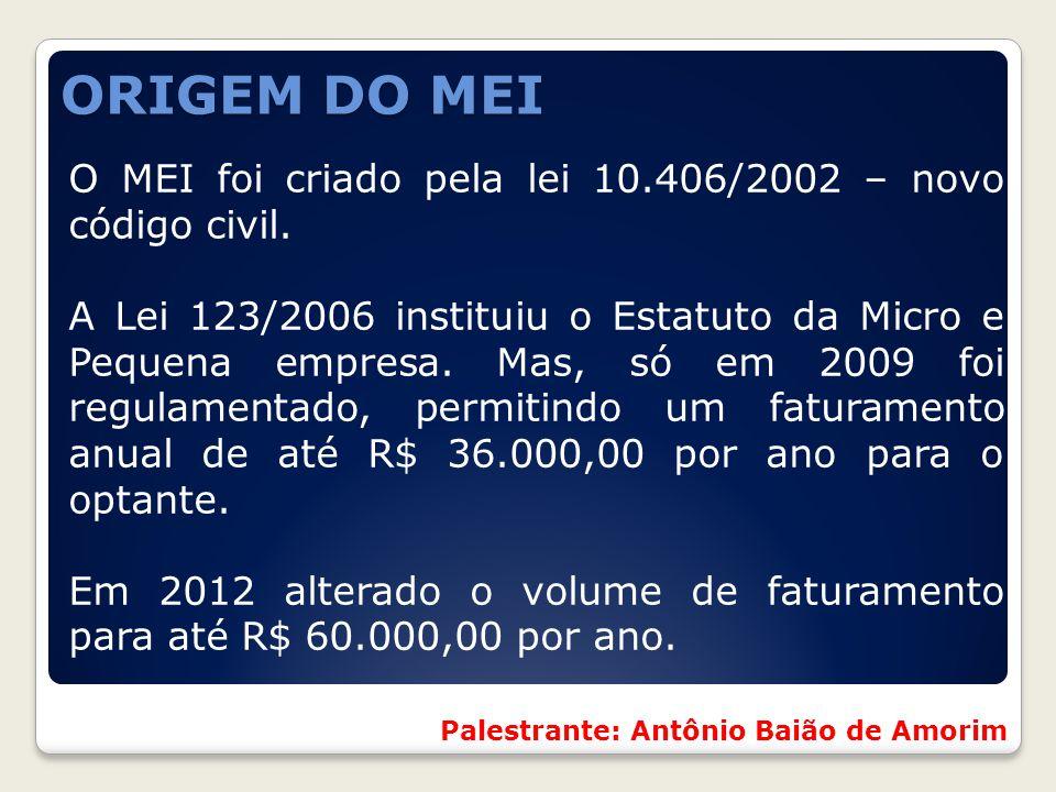 ORIGEM DO MEI O MEI foi criado pela lei 10.406/2002 – novo código civil.