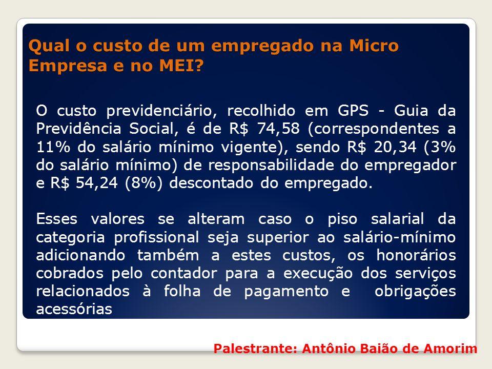 Qual o custo de um empregado na Micro Empresa e no MEI