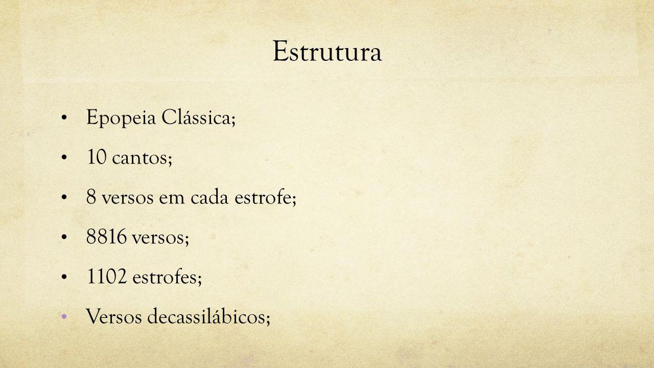 Estrutura Epopeia Clássica; 10 cantos; 8 versos em cada estrofe;