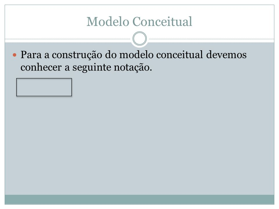 Modelo Conceitual Para a construção do modelo conceitual devemos conhecer a seguinte notação.