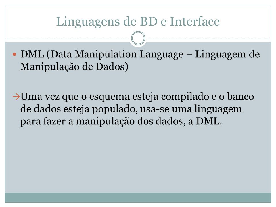Linguagens de BD e Interface