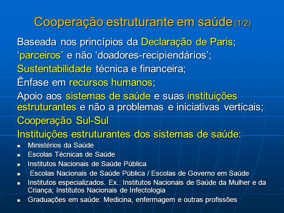 Cooperação estruturante em saúde (1/2)