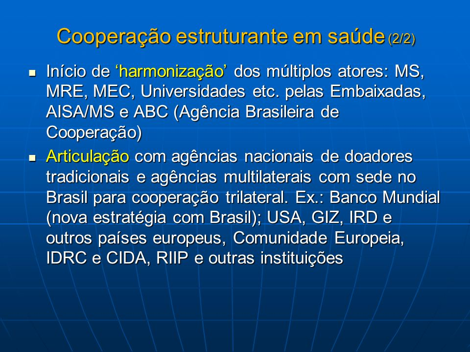 Cooperação estruturante em saúde (2/2)