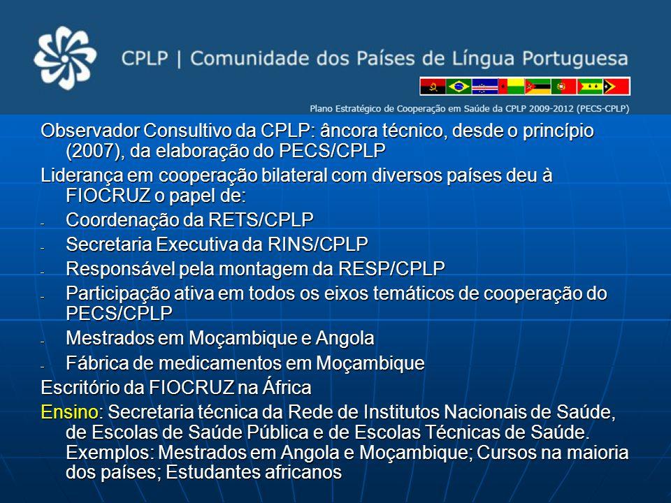 Observador Consultivo da CPLP: âncora técnico, desde o princípio (2007), da elaboração do PECS/CPLP