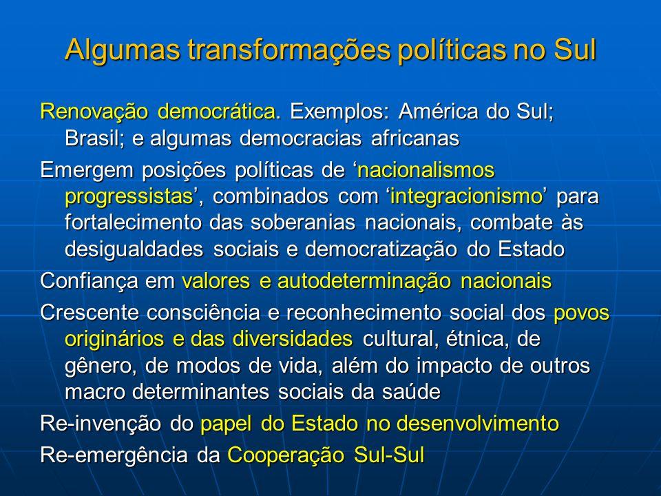 Algumas transformações políticas no Sul