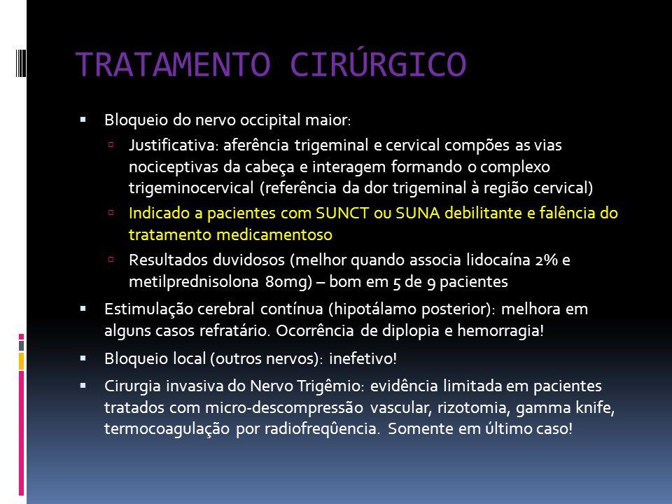 TRATAMENTO CIRÚRGICO Bloqueio do nervo occipital maior: