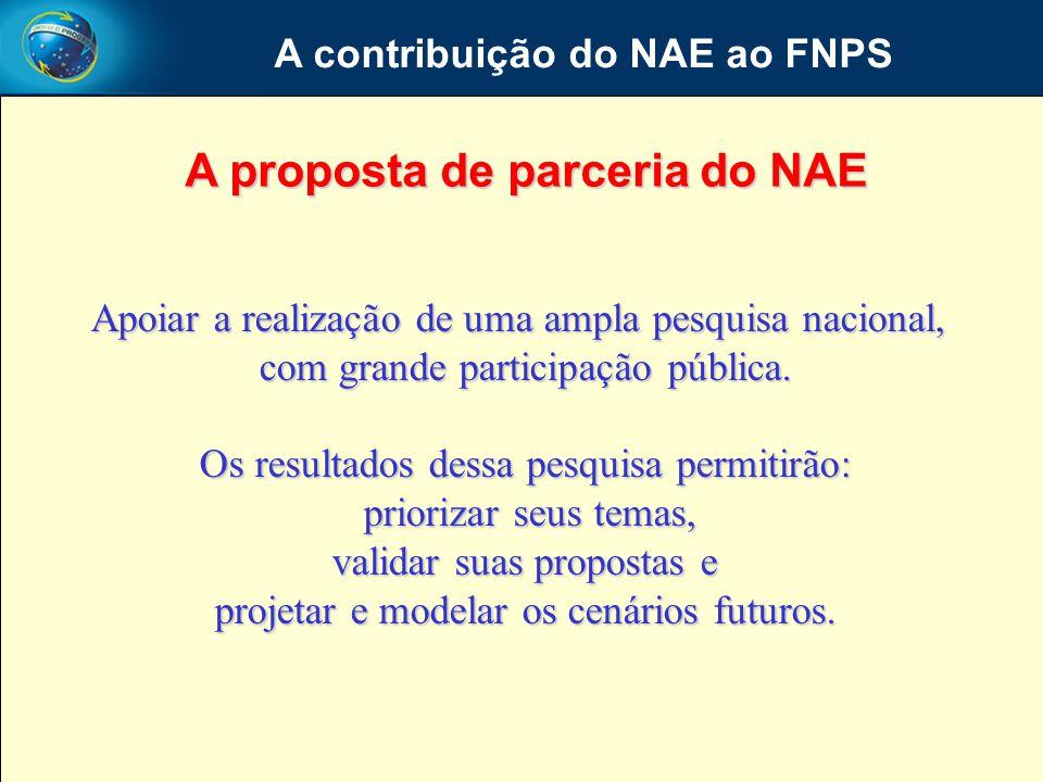 A contribuição do NAE ao FNPS A proposta de parceria do NAE