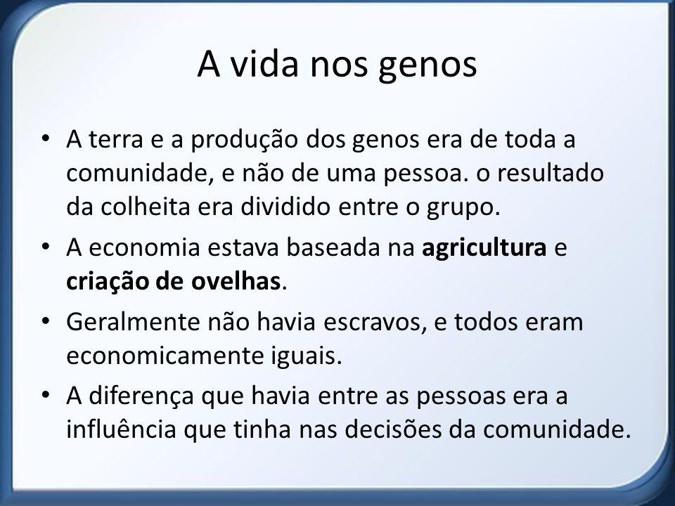 A vida nos genos A terra e a produção dos genos era de toda a comunidade, e não de uma pessoa. o resultado da colheita era dividido entre o grupo.