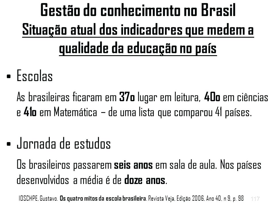 Gestão do conhecimento no Brasil Situação atual dos indicadores que medem a qualidade da educação no país