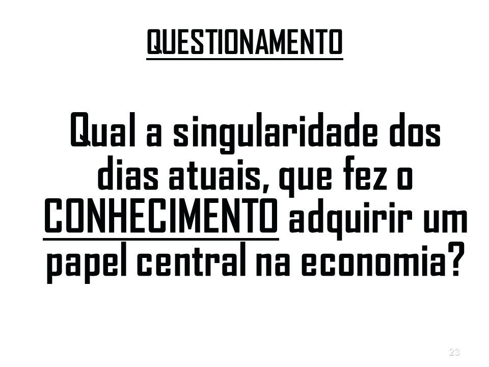 QUESTIONAMENTO Qual a singularidade dos dias atuais, que fez o CONHECIMENTO adquirir um papel central na economia