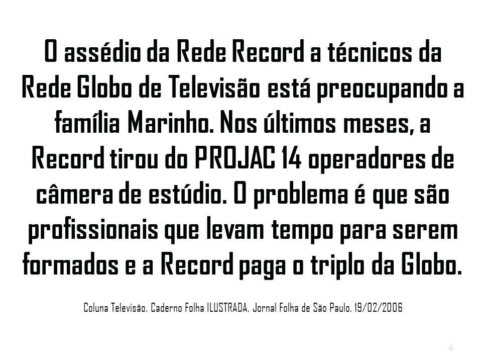 O assédio da Rede Record a técnicos da Rede Globo de Televisão está preocupando a família Marinho.