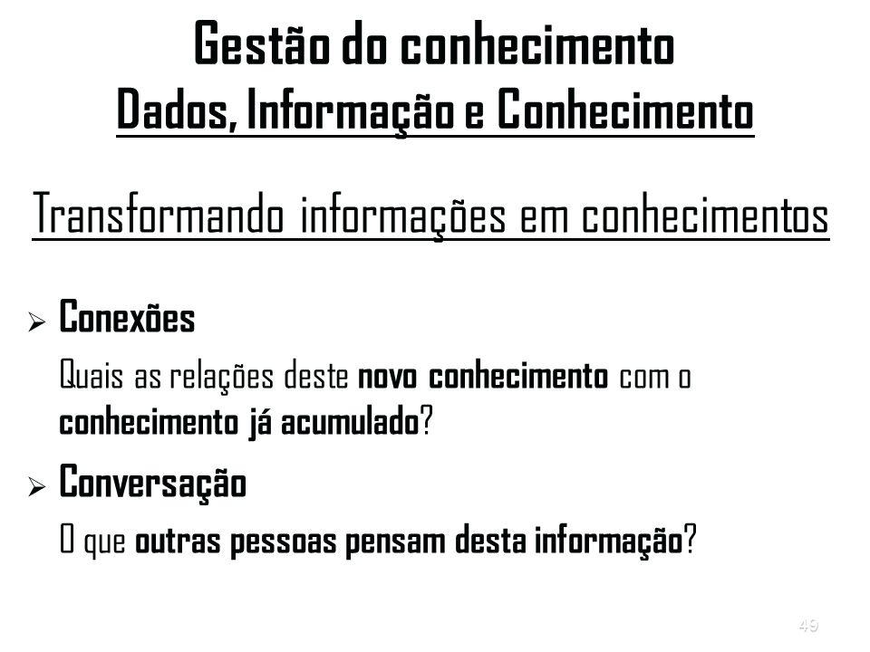 Gestão do conhecimento Dados, Informação e Conhecimento
