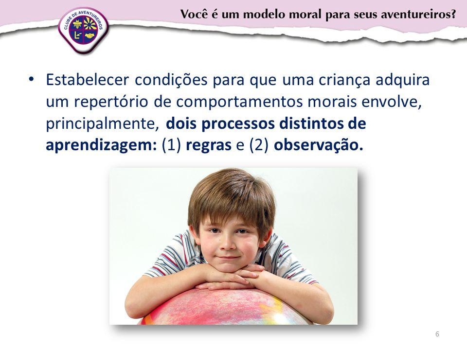 Estabelecer condições para que uma criança adquira um repertório de comportamentos morais envolve, principalmente, dois processos distintos de aprendizagem: (1) regras e (2) observação.