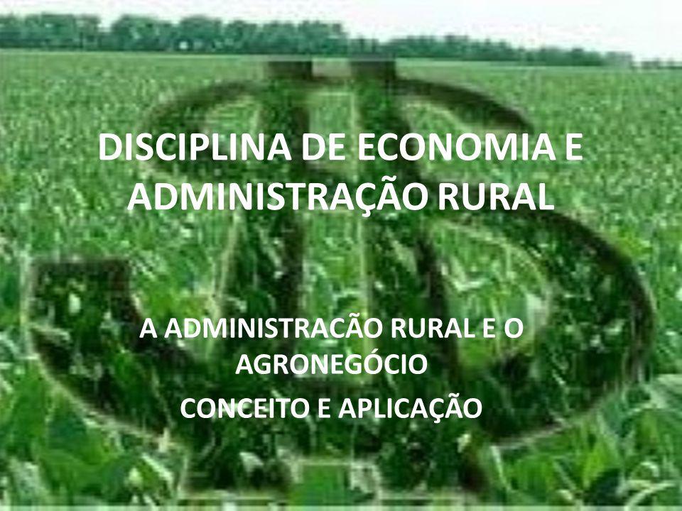 DISCIPLINA DE ECONOMIA E ADMINISTRAÇÃO RURAL