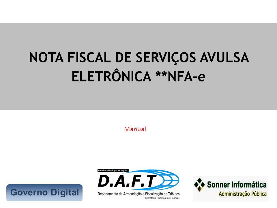 NOTA FISCAL DE SERVIÇOS AVULSA ELETRÔNICA **NFA-e