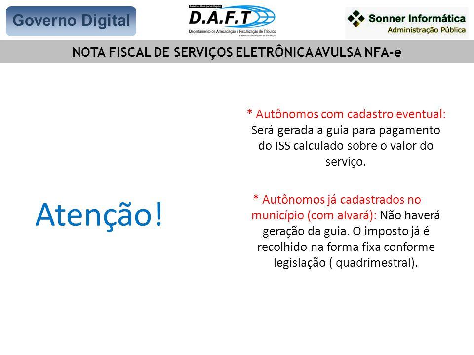 NOTA FISCAL DE SERVIÇOS ELETRÔNICA AVULSA NFA-e