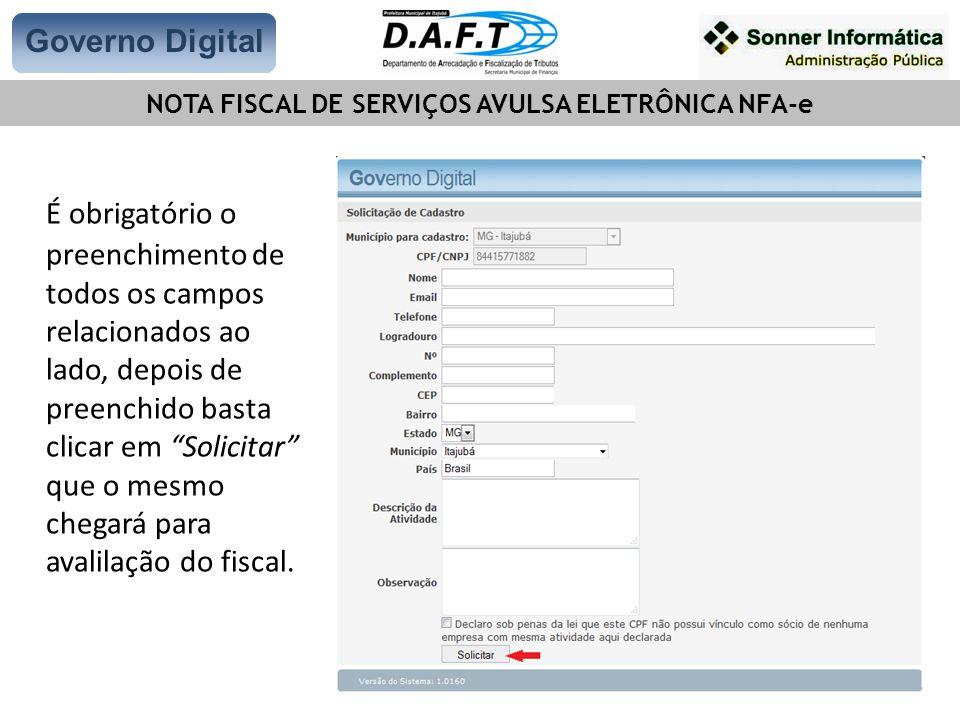 NOTA FISCAL DE SERVIÇOS AVULSA ELETRÔNICA NFA-e