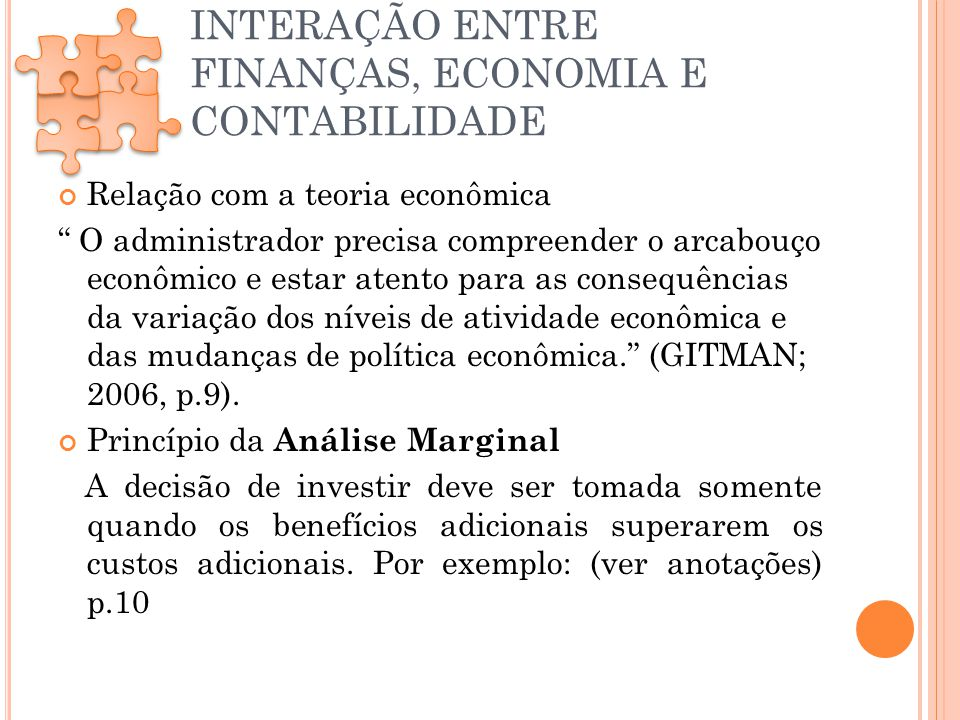 INTERAÇÃO ENTRE FINANÇAS, ECONOMIA E CONTABILIDADE