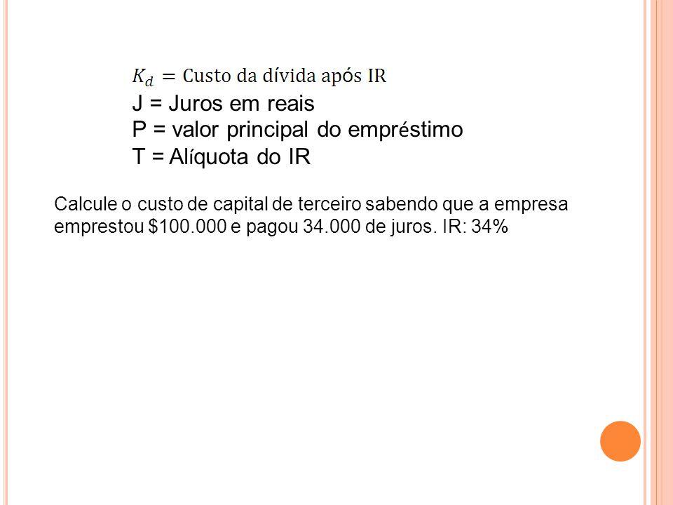 P = valor principal do empréstimo T = Alíquota do IR