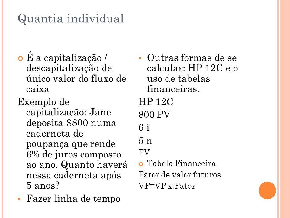 Quantia individual É a capitalização / descapitalização de único valor do fluxo de caixa.