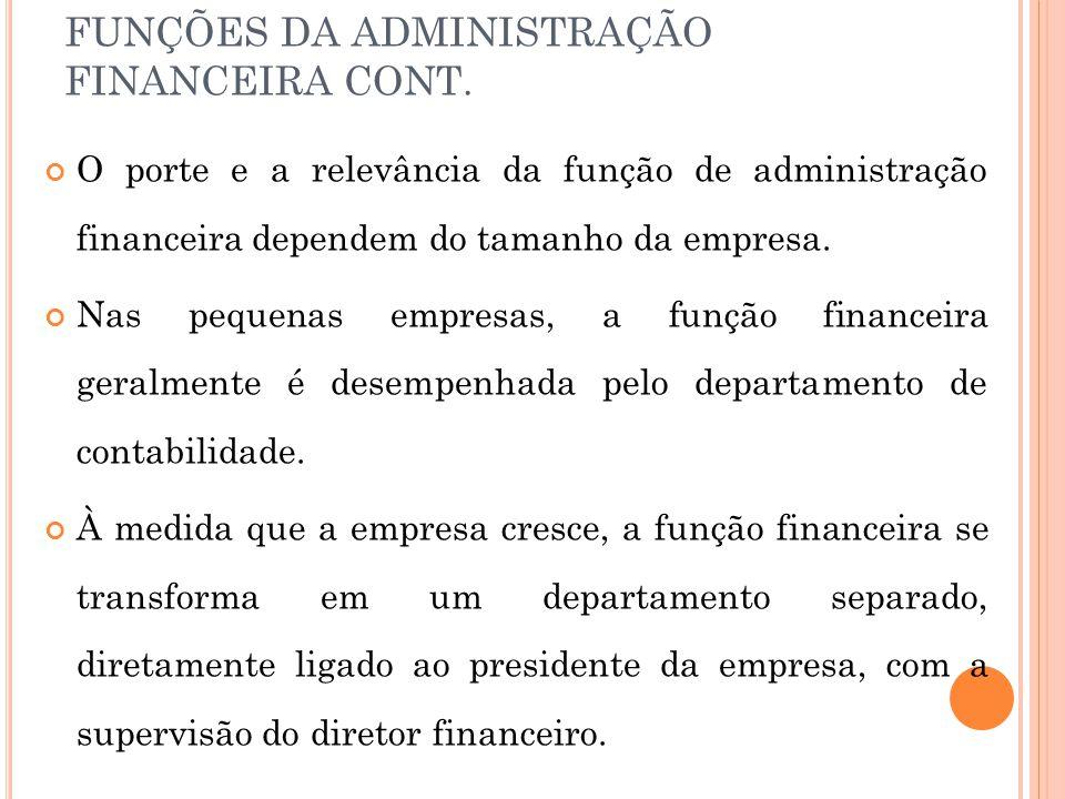 FUNÇÕES DA ADMINISTRAÇÃO FINANCEIRA CONT.