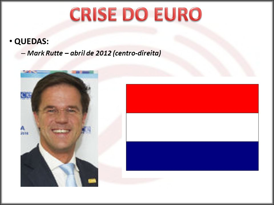 CRISE DO EURO QUEDAS: Mark Rutte – abril de 2012 (centro-direita)