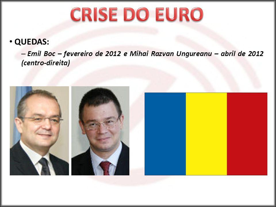 CRISE DO EURO QUEDAS: Emil Boc – fevereiro de 2012 e Mihai Razvan Ungureanu – abril de 2012 (centro-direita)