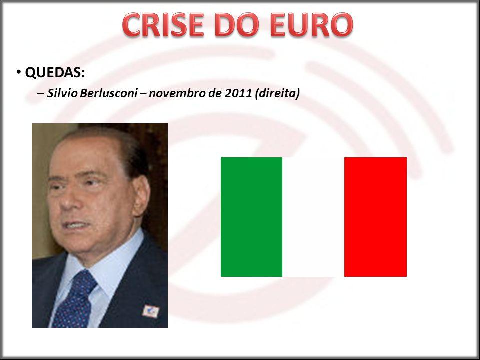 CRISE DO EURO QUEDAS: Silvio Berlusconi – novembro de 2011 (direita)