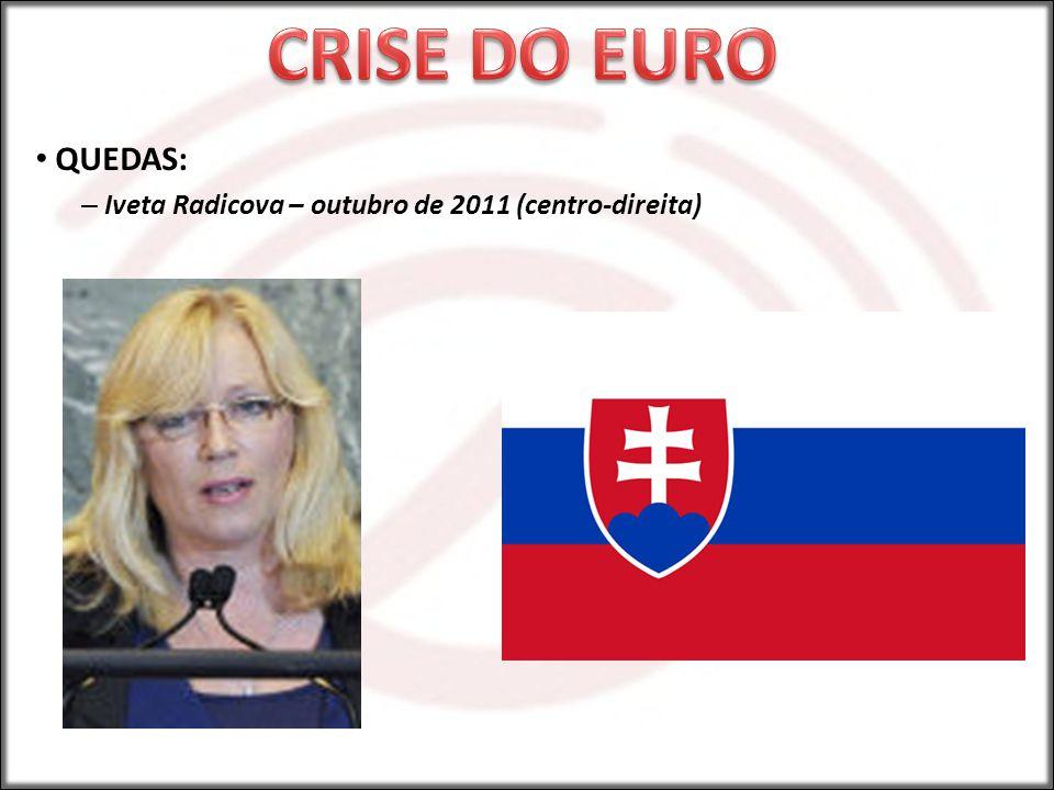 CRISE DO EURO QUEDAS: Iveta Radicova – outubro de 2011 (centro-direita)