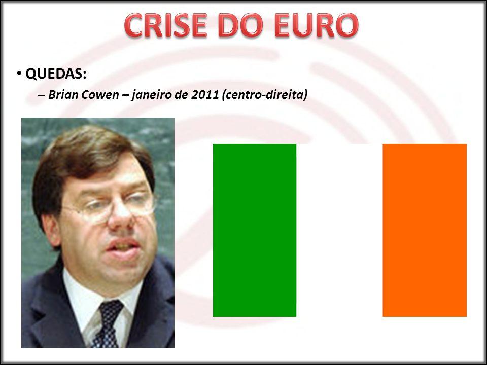 CRISE DO EURO QUEDAS: Brian Cowen – janeiro de 2011 (centro-direita)