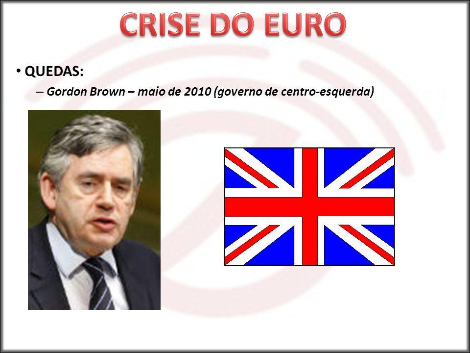 CRISE DO EURO QUEDAS: Gordon Brown – maio de 2010 (governo de centro-esquerda)