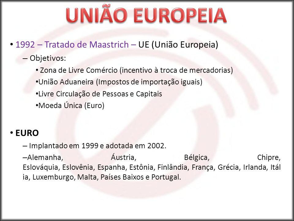 UNIÃO EUROPEIA 1992 – Tratado de Maastrich – UE (União Europeia) EURO