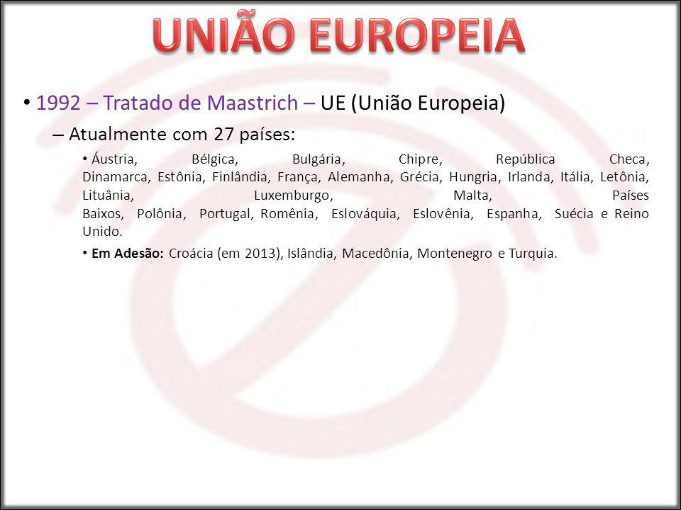 UNIÃO EUROPEIA 1992 – Tratado de Maastrich – UE (União Europeia)