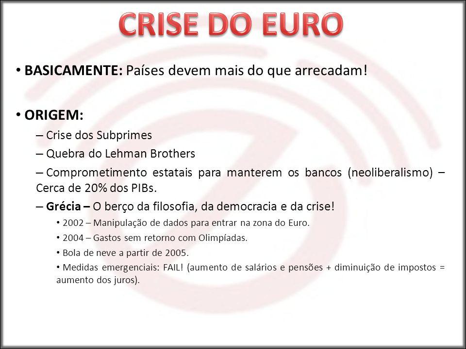 CRISE DO EURO BASICAMENTE: Países devem mais do que arrecadam! ORIGEM: