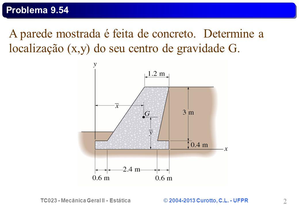 Problema 9.54 A parede mostrada é feita de concreto.