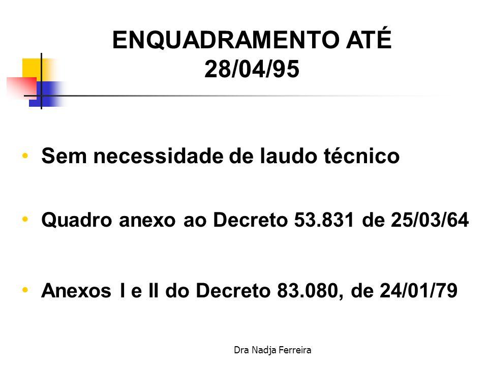 ENQUADRAMENTO ATÉ 28/04/95 Sem necessidade de laudo técnico