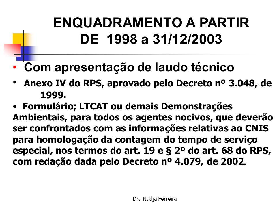 ENQUADRAMENTO A PARTIR DE 1998 a 31/12/2003
