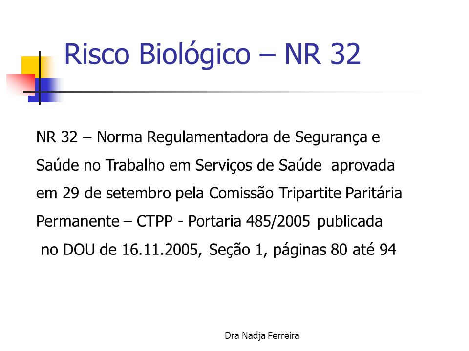 Risco Biológico – NR 32 NR 32 – Norma Regulamentadora de Segurança e