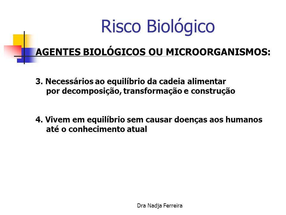 Risco Biológico AGENTES BIOLÓGICOS OU MICROORGANISMOS: