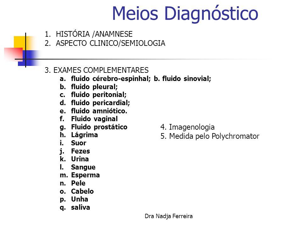 Meios Diagnóstico HISTÓRIA /ANAMNESE ASPECTO CLINICO/SEMIOLOGIA