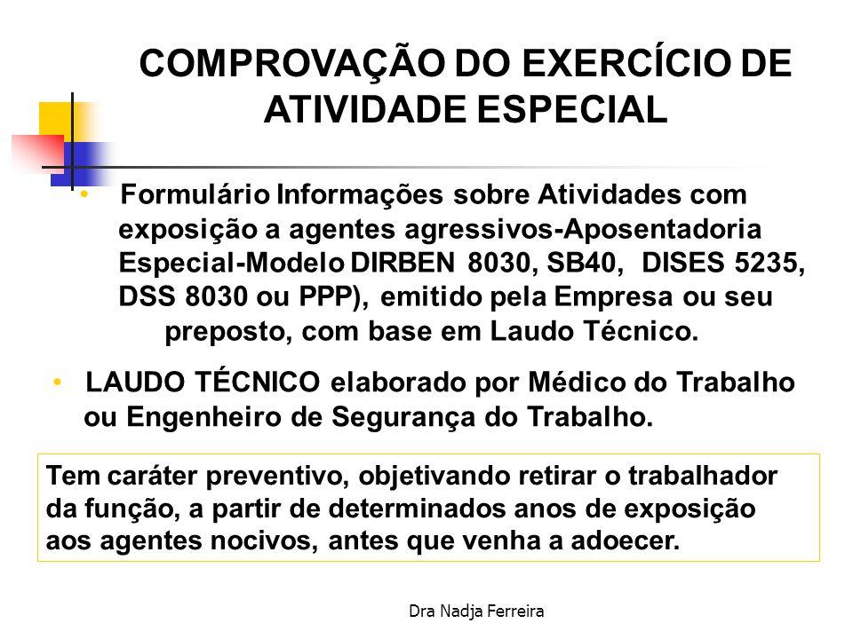 COMPROVAÇÃO DO EXERCÍCIO DE ATIVIDADE ESPECIAL