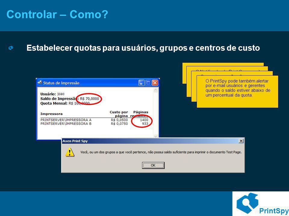 Controlar – Como Estabelecer quotas para usuários, grupos e centros de custo.