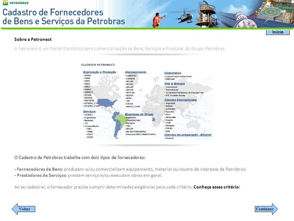 O Cadastro da Petrobras trabalha com dois tipos de fornecedores: