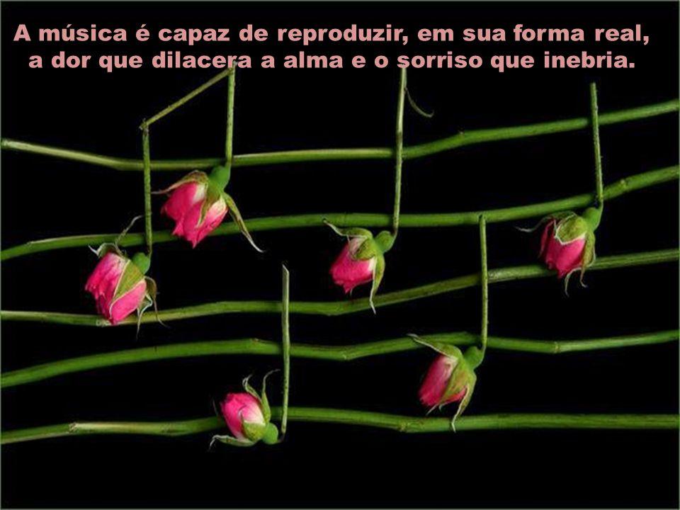 A música é capaz de reproduzir, em sua forma real, a dor que dilacera a alma e o sorriso que inebria.