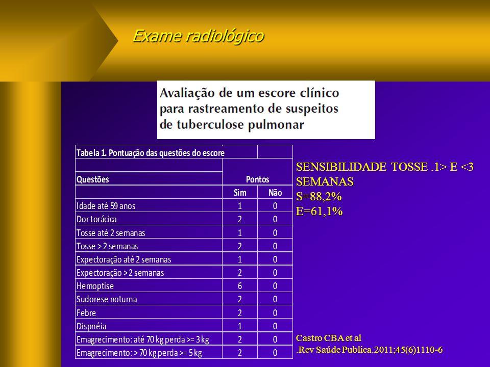Exame radiológico SENSIBILIDADE TOSSE .1> E <3 SEMANAS S=88,2%