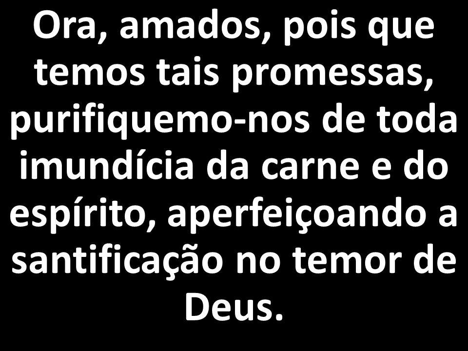 Ora, amados, pois que temos tais promessas, purifiquemo-nos de toda imundícia da carne e do espírito, aperfeiçoando a santificação no temor de Deus.