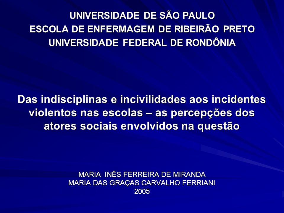 Das indisciplinas e incivilidades aos incidentes violentos nas escolas – as percepções dos atores sociais envolvidos na questão MARIA INÊS FERREIRA DE MIRANDA MARIA DAS GRAÇAS CARVALHO FERRIANI 2005
