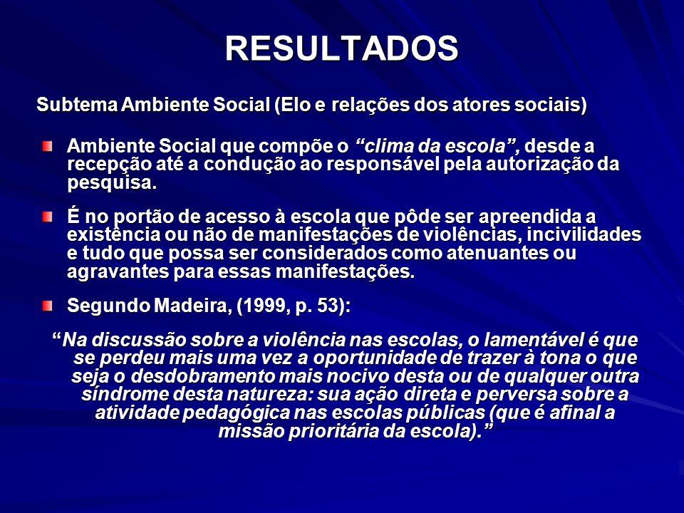 RESULTADOS Subtema Ambiente Social (Elo e relações dos atores sociais)