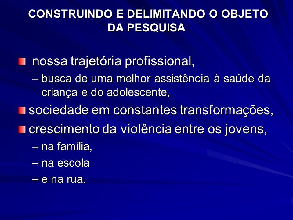 CONSTRUINDO E DELIMITANDO O OBJETO DA PESQUISA