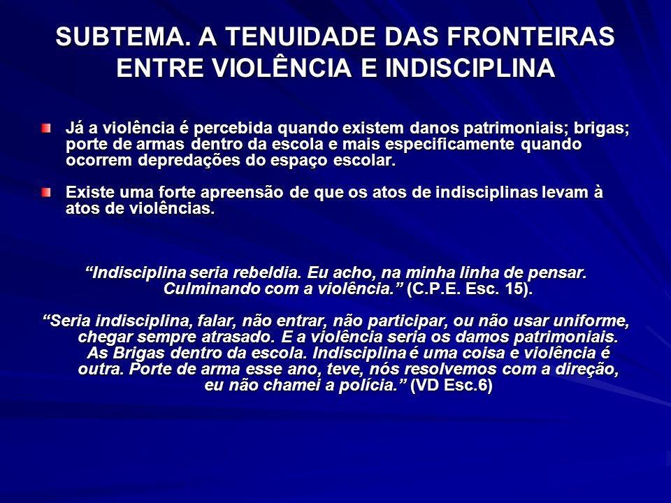 SUBTEMA. A TENUIDADE DAS FRONTEIRAS ENTRE VIOLÊNCIA E INDISCIPLINA